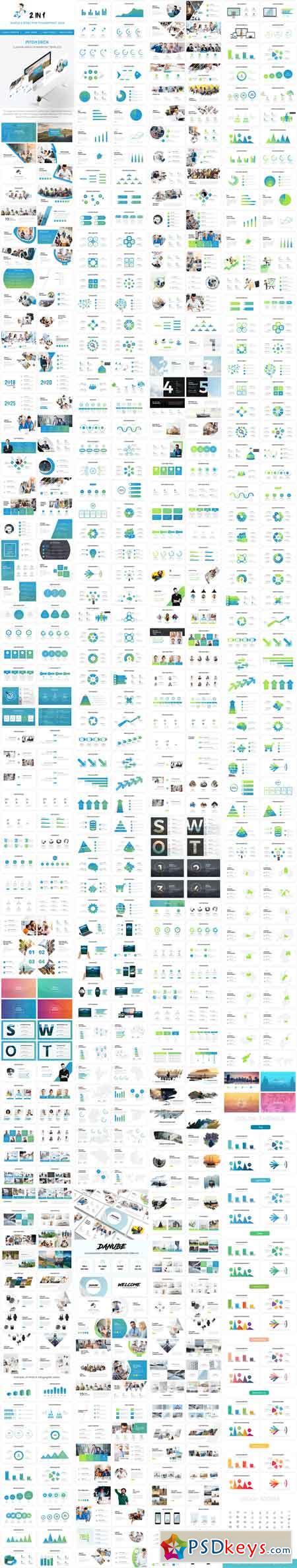 Bundle 2 in 1 Simple & Effective Pitch Deck Powerpoint Template 2019 22875671
