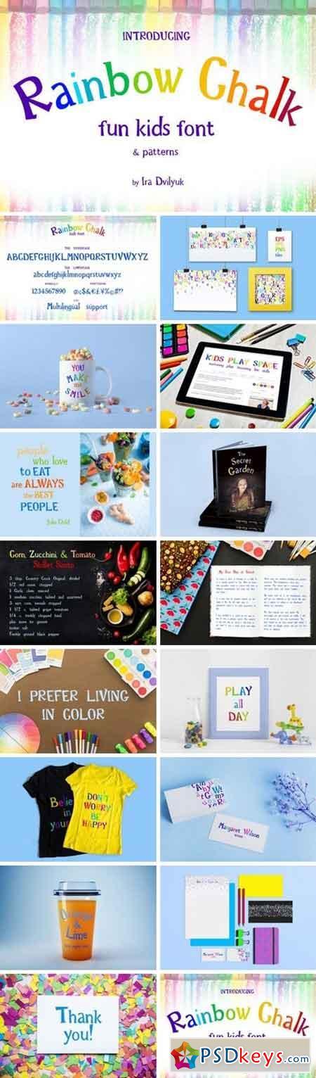Rainbow Chalk fun kids font+Patterns 3245431
