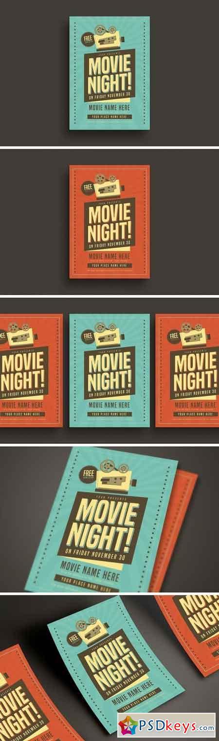 Retro Movie Night Flyer 3256068