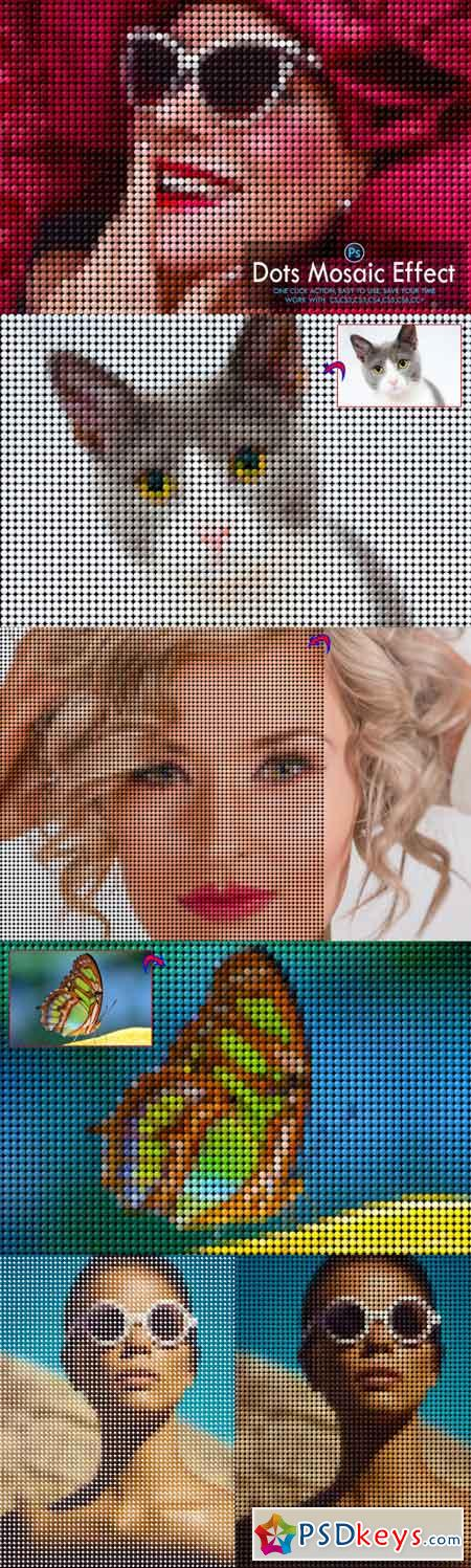 Dots Mosaic Effect Photoshop Action 3512577