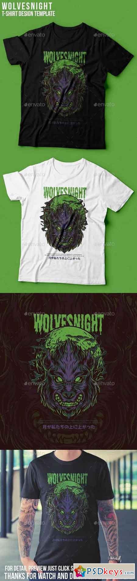 Wolves Night T-Shirt Design 22939345