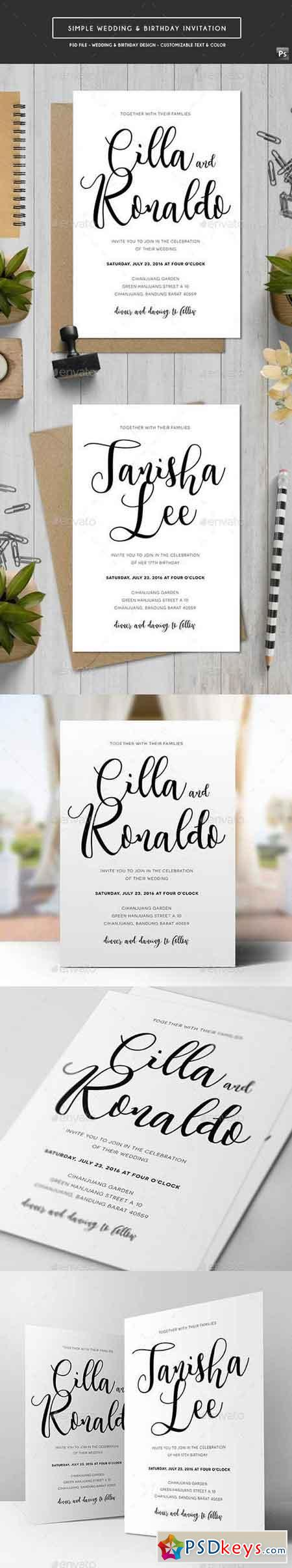 Simple Wedding & Birthday Invitation 18513301