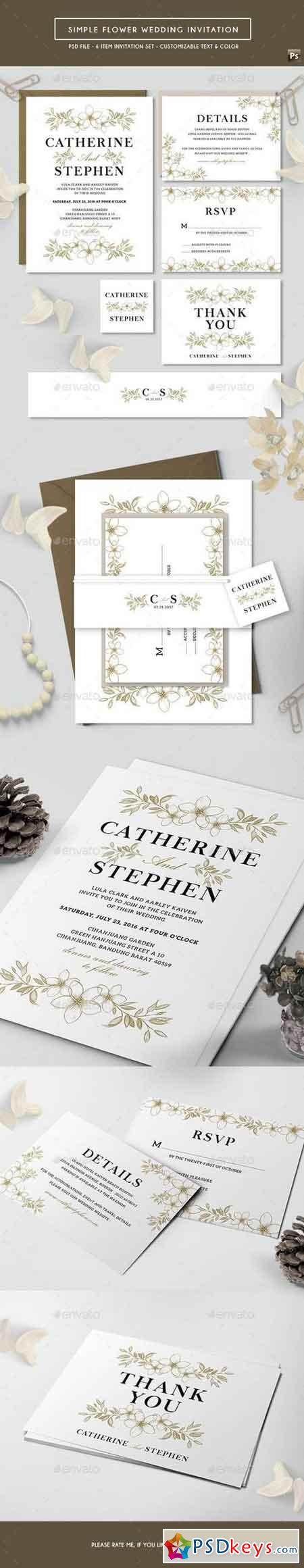 Simple Flower Wedding Invitation 17743313