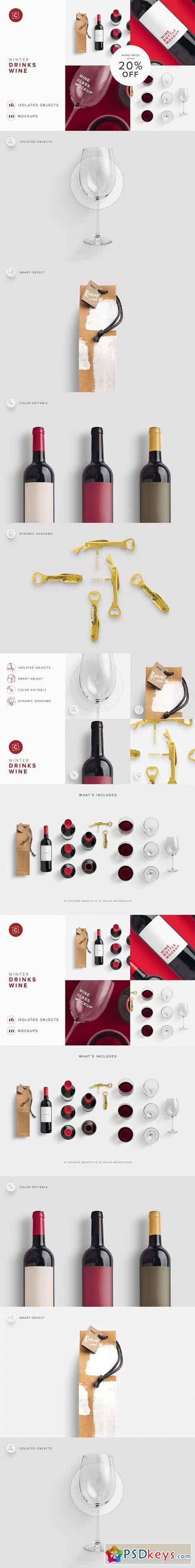 Wine Bottle Glass Bag PSD Mockup 3214180