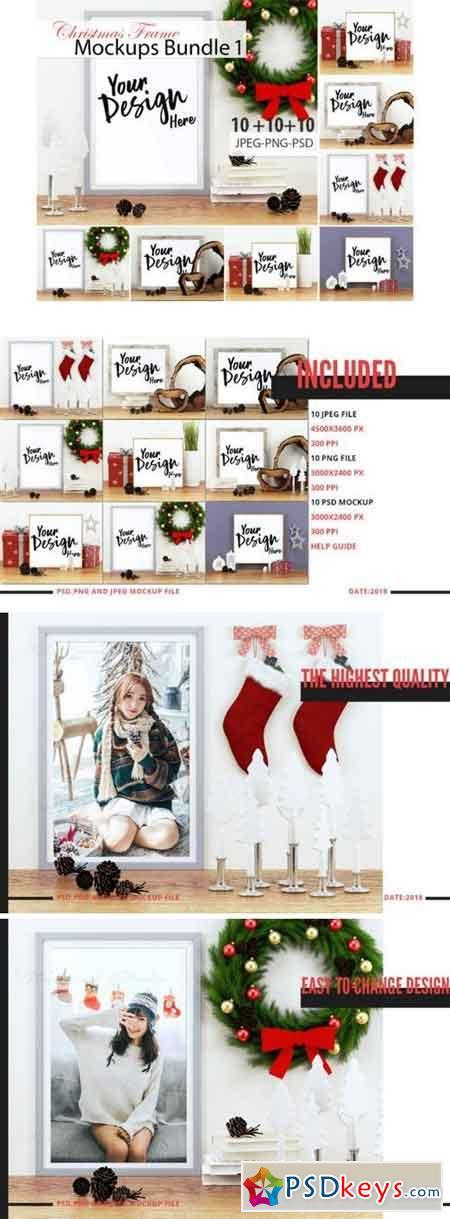 10 Christmas Frame Mockup Bundle Volume 01 3512561