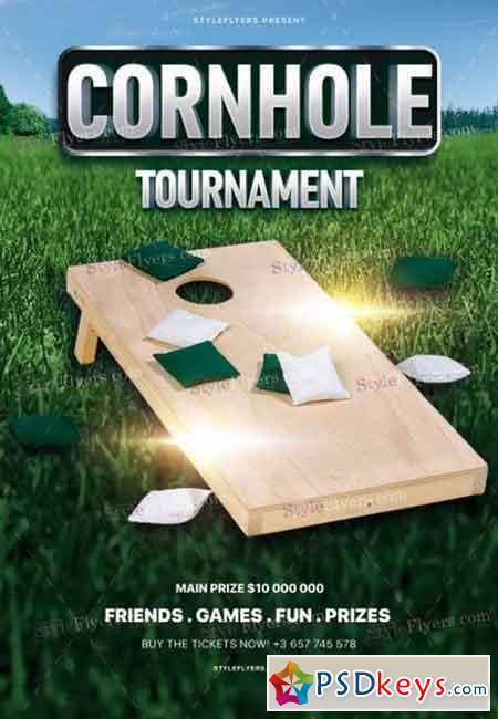 Cornhole Tournament PSD Flyer Template 2