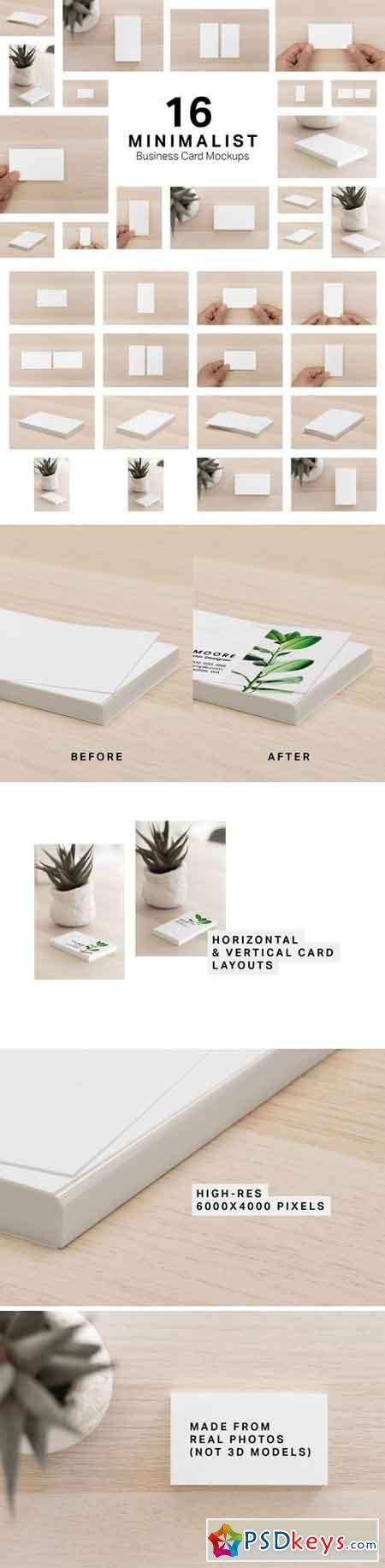 16 Minimalist Business Card Mockups 3251258
