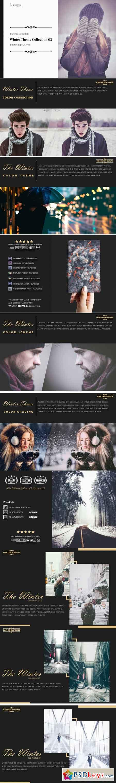 Winter Theme Color Grading Photoshop Actions Collection 02 3513223