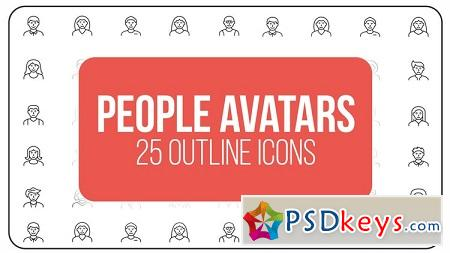 MotionArray - People Avatars 25 Outline Icons After Effects Templates 149601