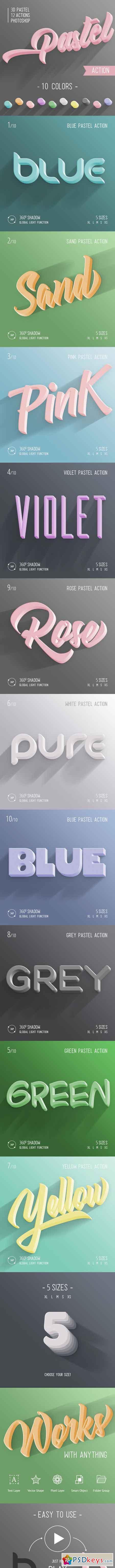 3D Pastel Photoshop Action 22992157