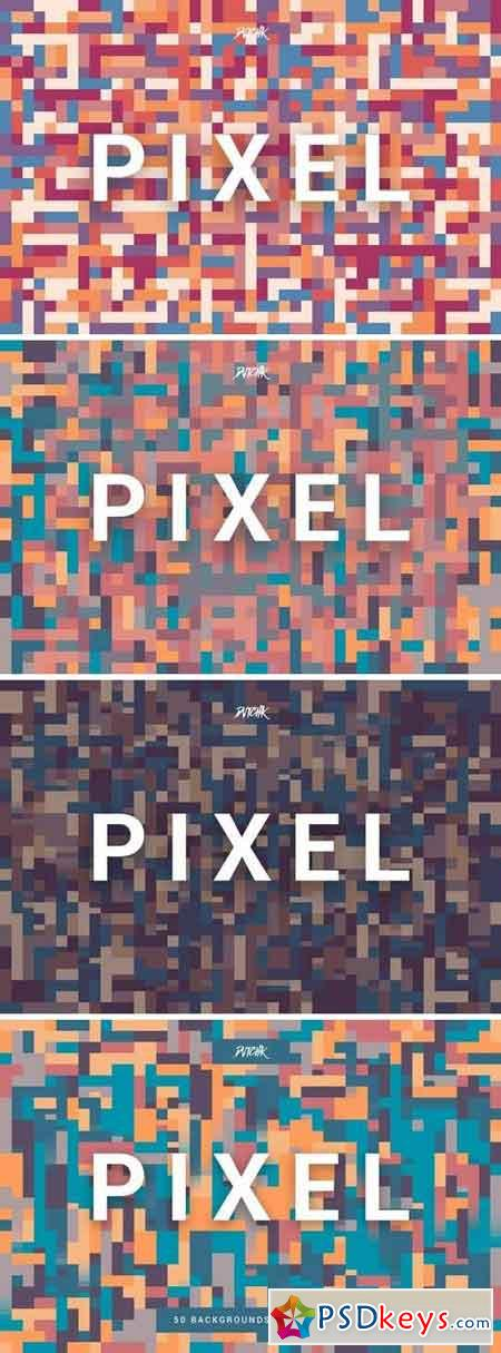 Pixel Colorful Motion Square Backgrounds V. 04