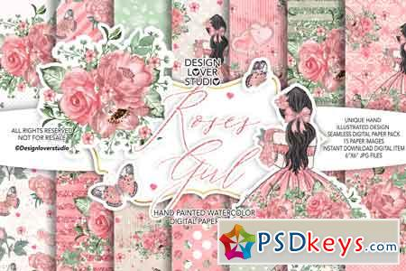 Roses Girl digital paper pack 176773