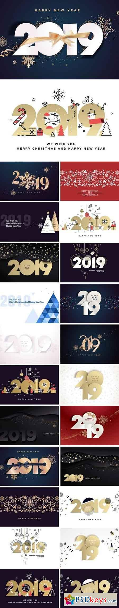 Happy New Year 2019 Vector Card Bundle 2