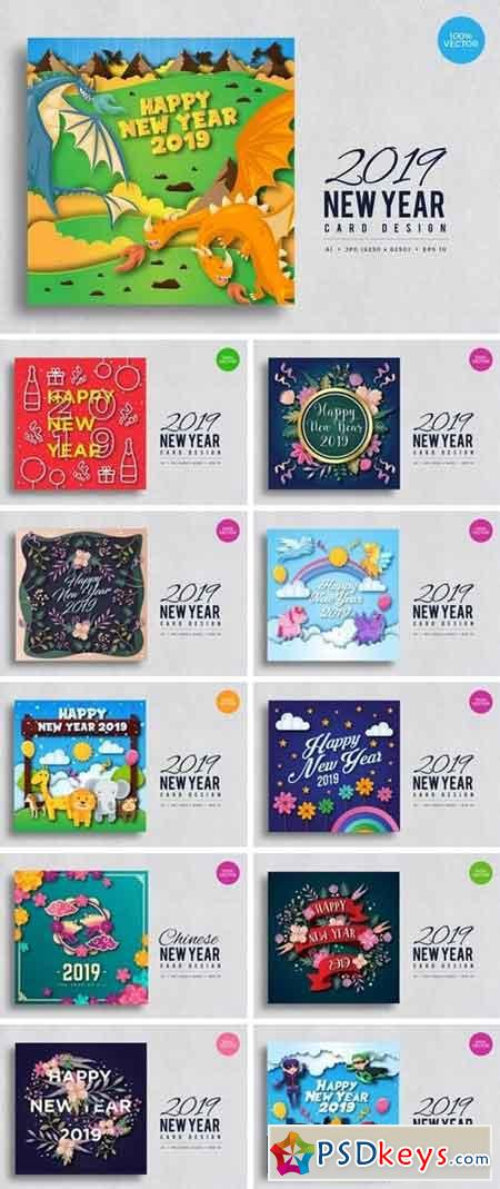 Happy New Year 2019 Vector Card Bundle