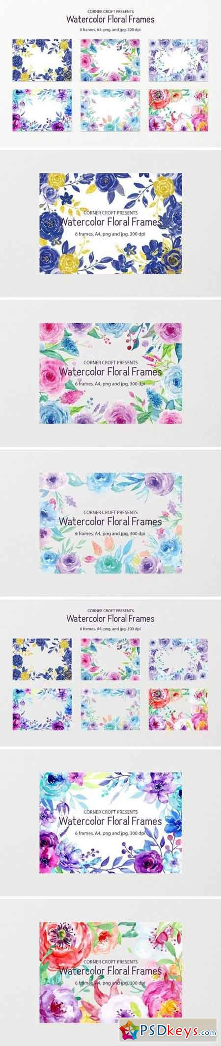 Watercolor Floral Frame Blue and Purple