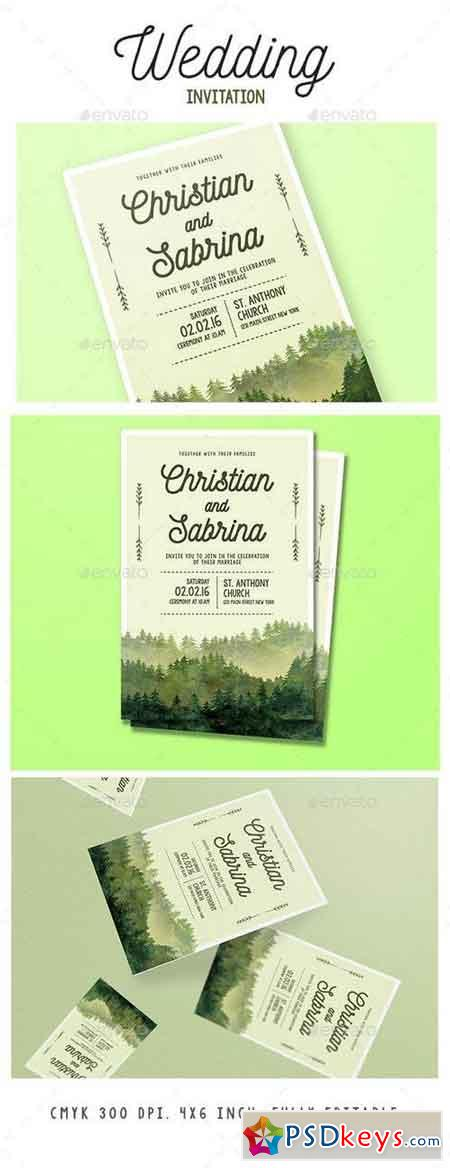 Watercolor Forest Wedding Invitation 15833104