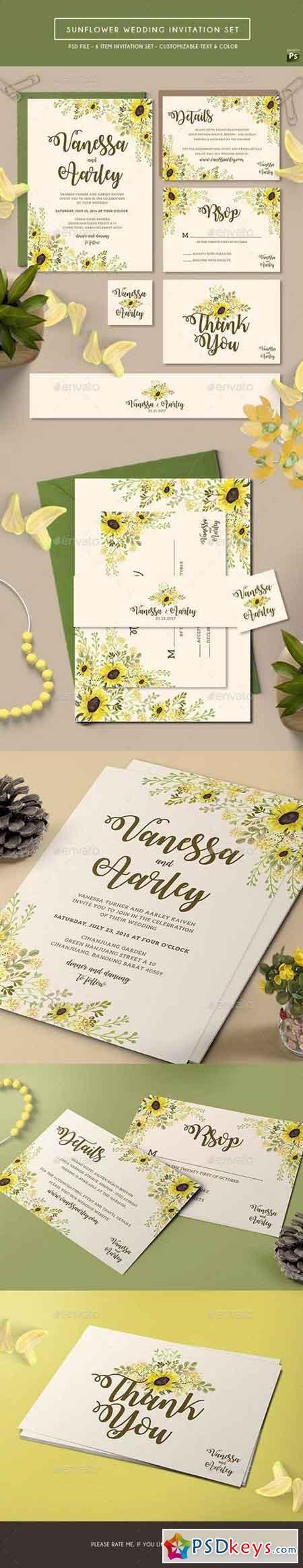 Sunflower Wedding Invitation Set 17711228