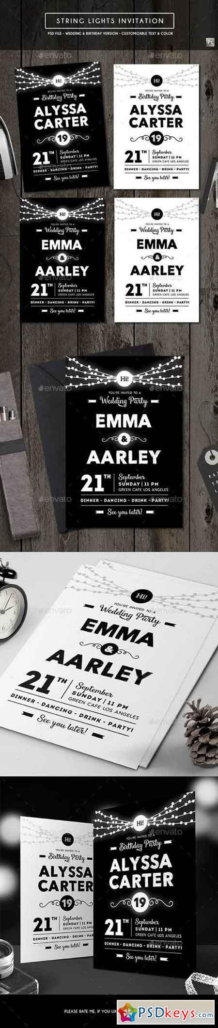 String Lights Invitation (Wedding & Birthday) 17774189