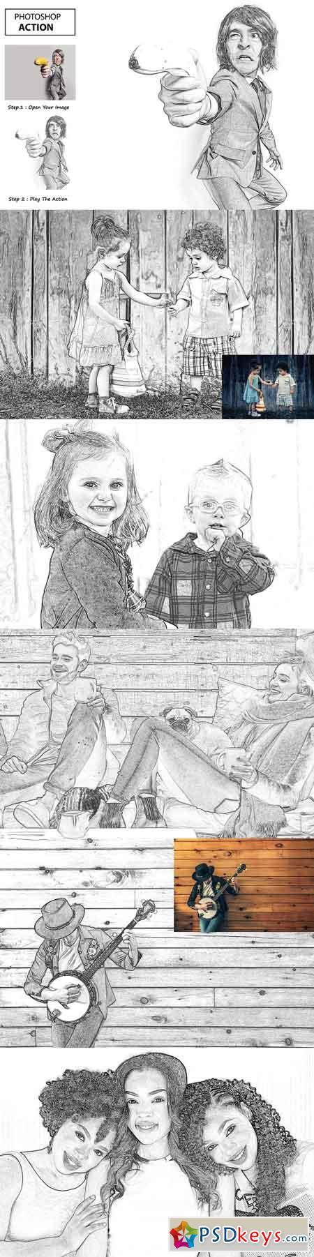 Pencil Sketch - Photo Shop Action 3193459