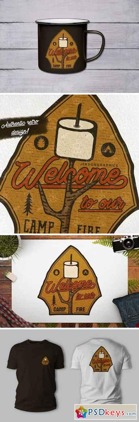 Camping Patch Hiking Badge Vintage Travel Logo