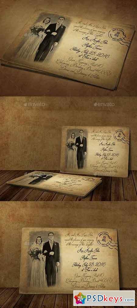 Vintage Wedding Invitation 18829887