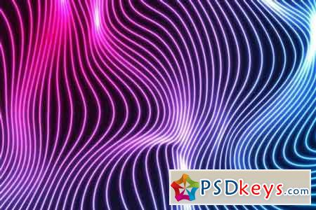 Blue ultraviolet neon wavy lines abstract backdrop