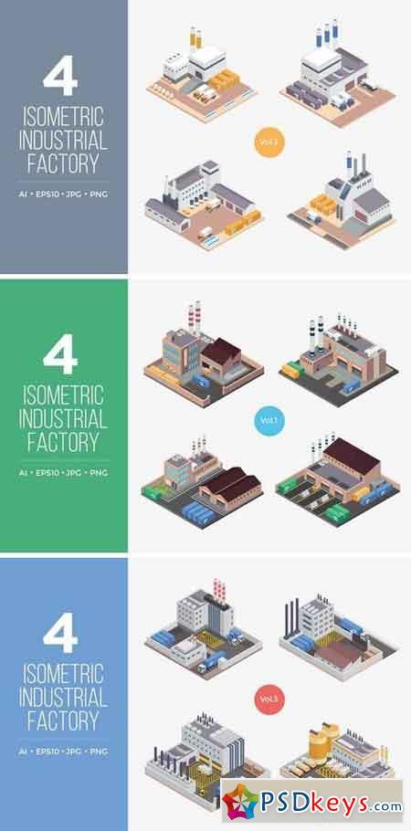 Isometric Industrial Factory Vector Set Bundle