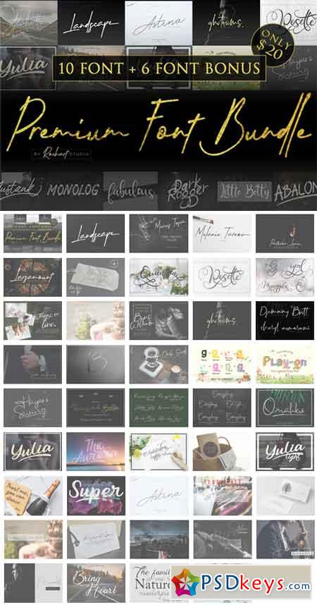 Premium Font Bundle 2018 10 Fonts Included & Bonus 3516235