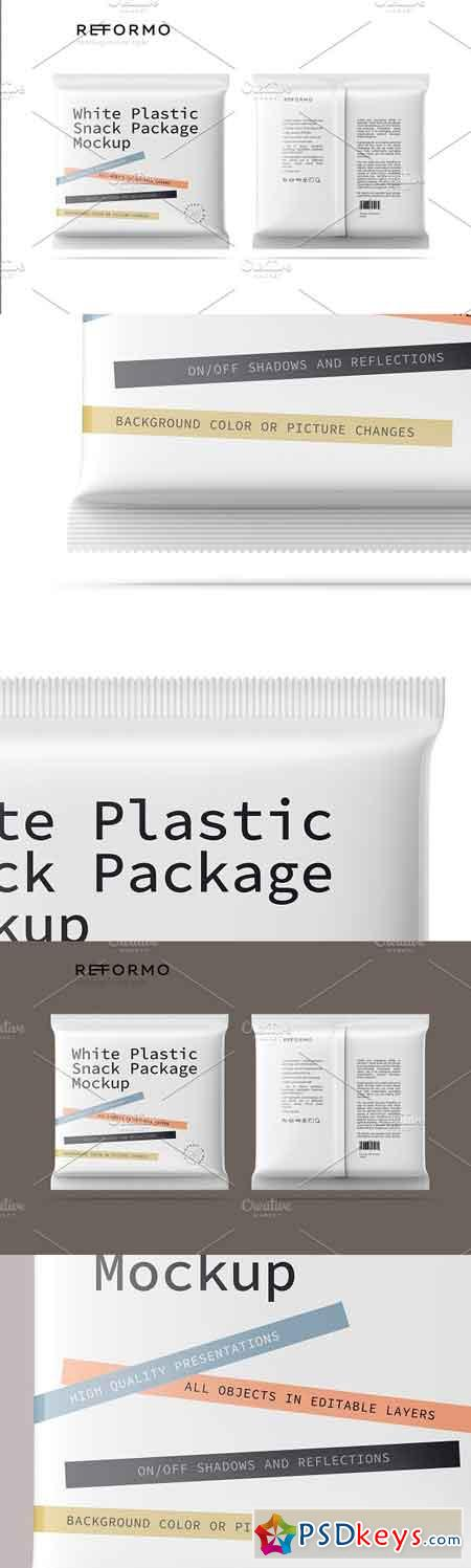 White Plastic Snack Package Mockup 3230012