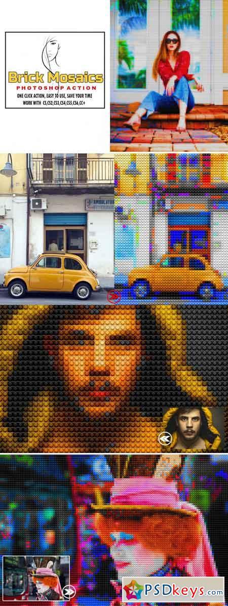 Brick Mosaics Photoshop Action 3512254