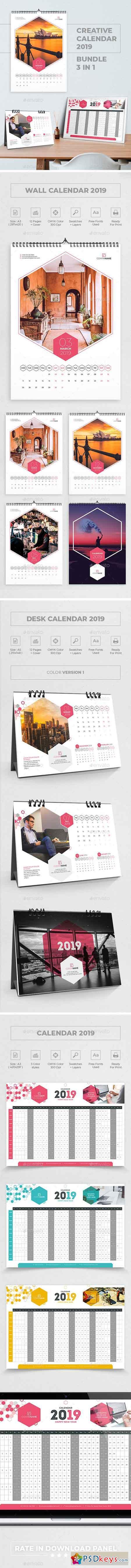 Creative Calendar 2019 Bundle 3 in 1 23011737