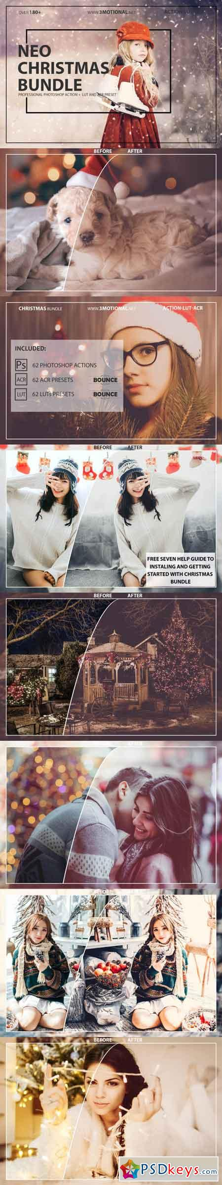 Neo Christmas Theme Bundle Color Grading photoshop action,ACR,LUT 3516654
