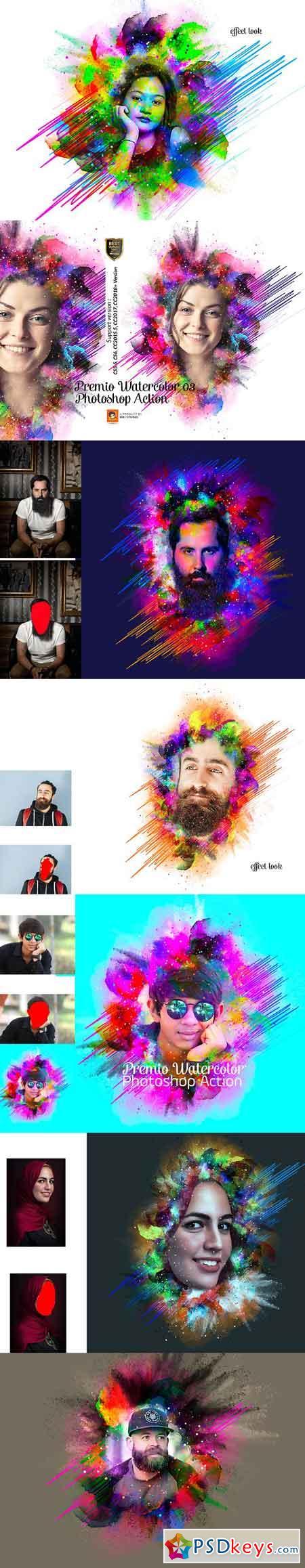 Premio Watercolor Photoshop Action 3235422