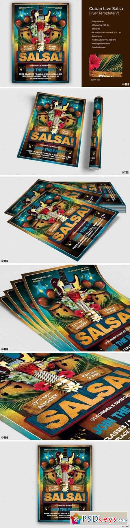 Cuban Live Salsa Flyer Template V1 89143