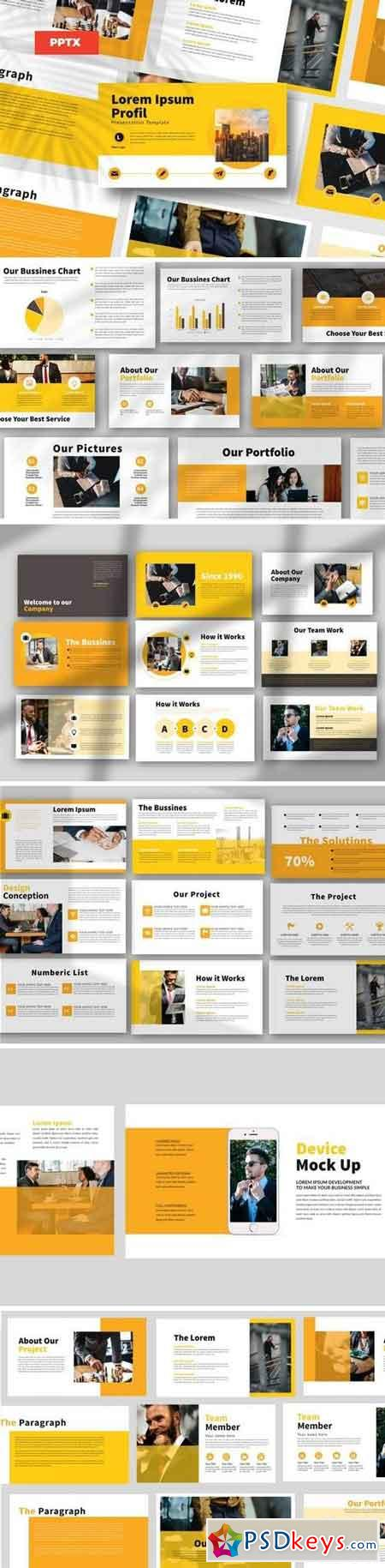 Yellow Bussiness - Powerpoint, Keynote, Google Sliders Templates
