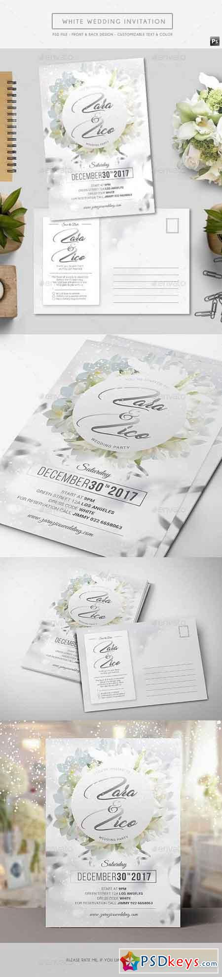 White Wedding Invitation 17494640