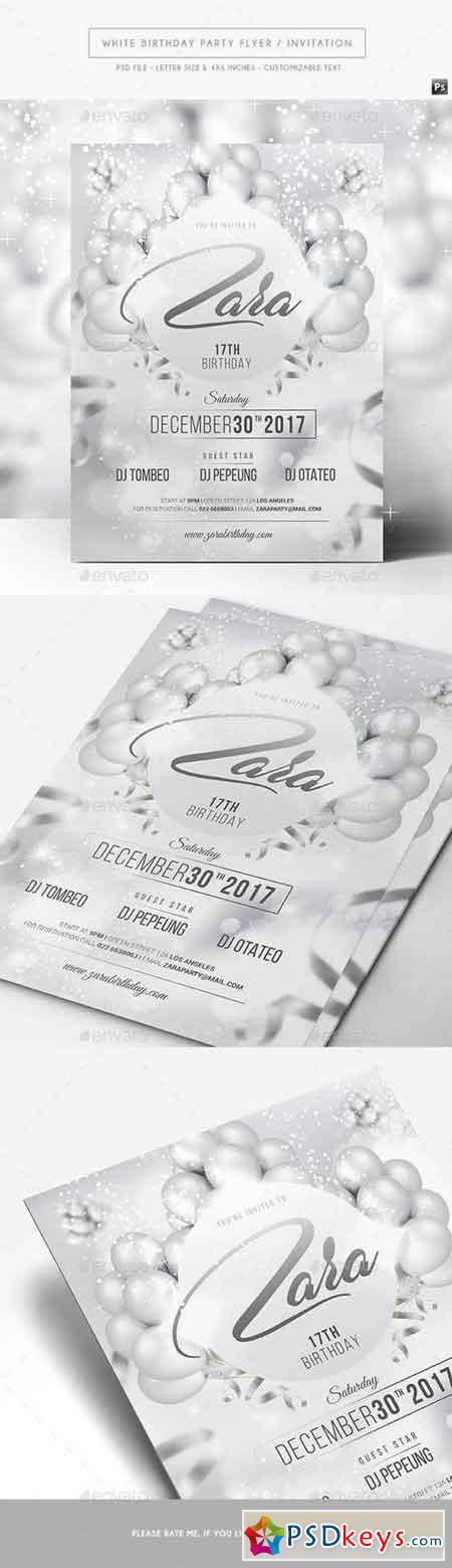 White Birthday Party Flyer Invitation 17494351