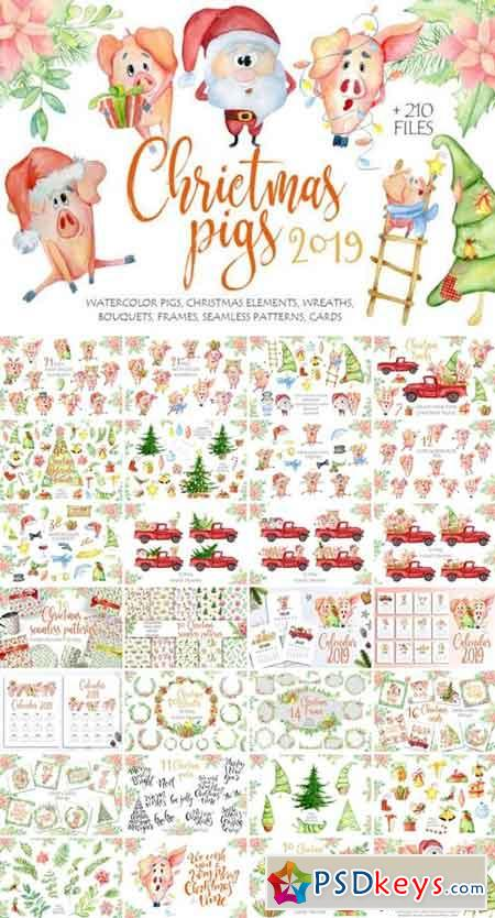 Christmas cute pigs collection 845840