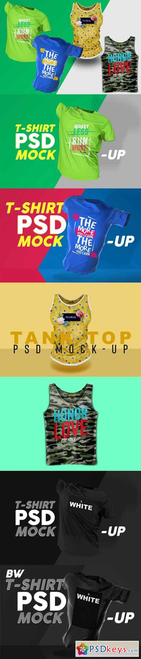 T-Shirt and Tank Top PSD Mockup Set 3247511
