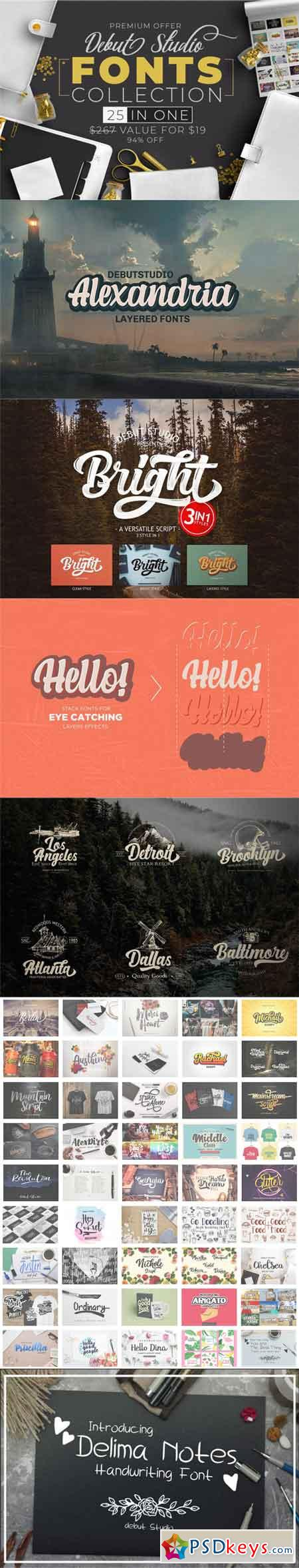 Debut Studio FONTS COLLECTION (25 in 1) 3515303