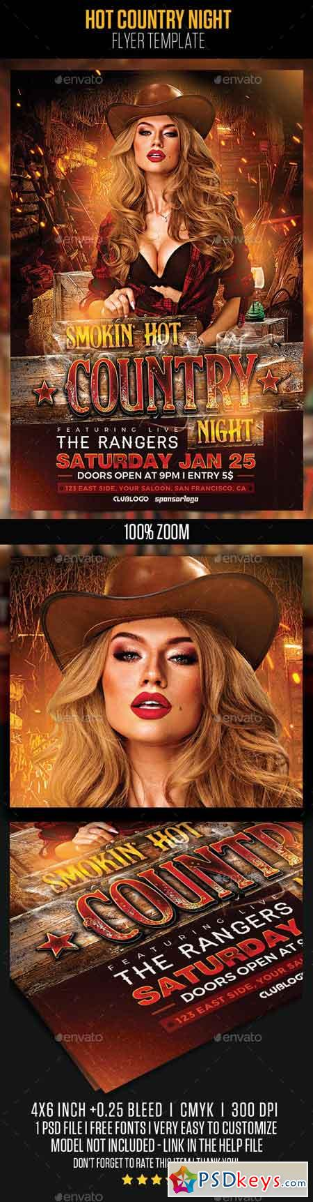 Hot Country Night Flyer Template 22997232