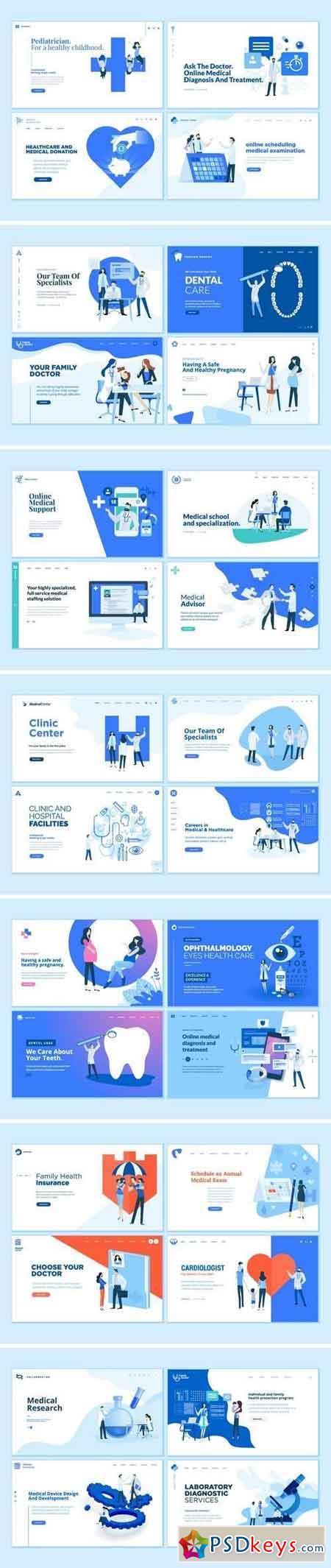 Set of Medical Web Page Design Templates Bundle