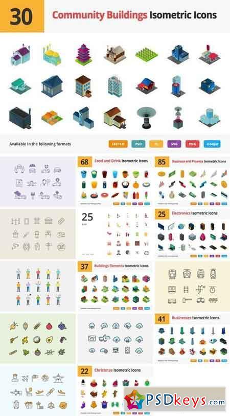 Vector Isometric Icons Bundle