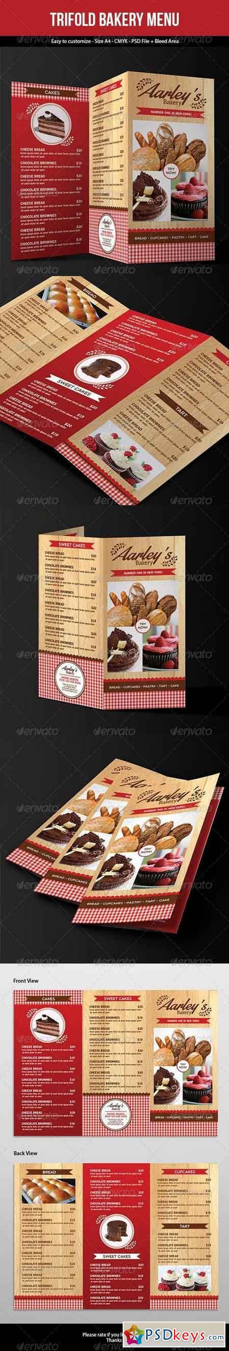Trifold Bakery Menu 7299857