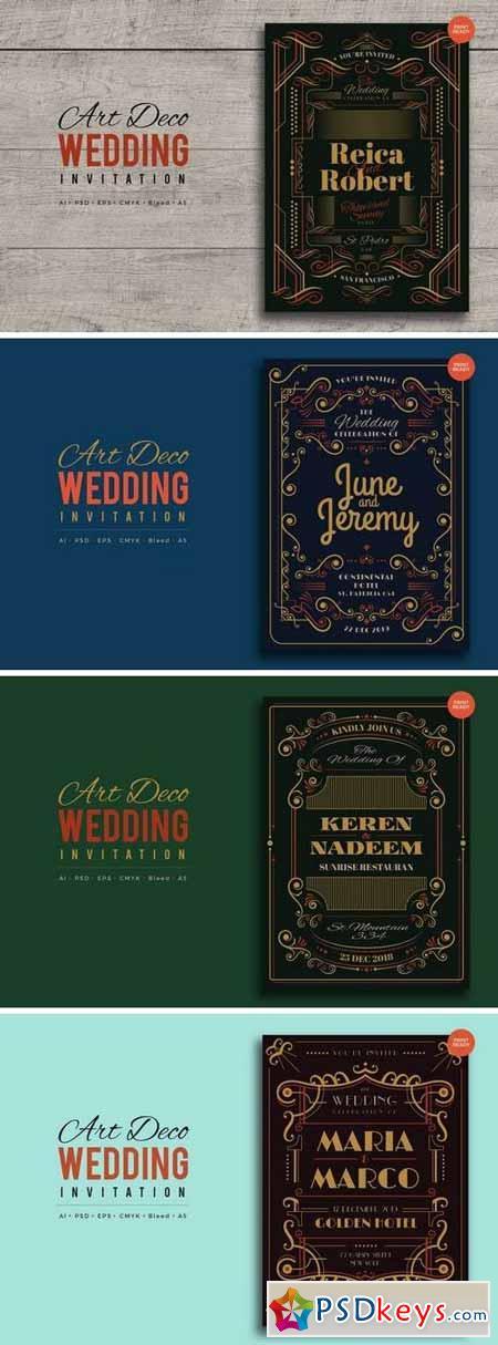 Art Deco Wedding Invitation PSD And Vector Bundle