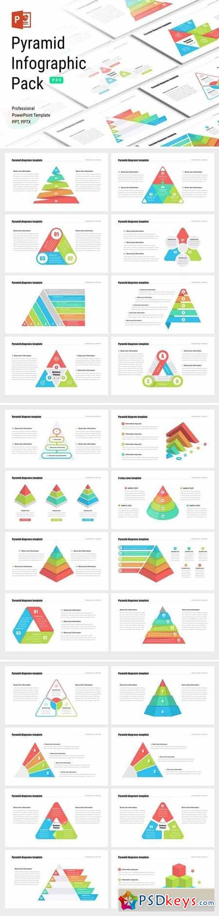 Pyramid infographic pack - Powerpoint, Keynote, Google Sliders Templates