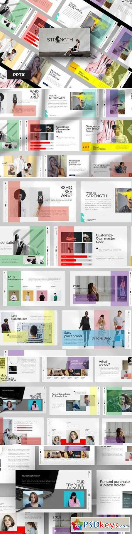 STRENGHT WHITE - Powerpoint, Keynote, Google Sliders Templates