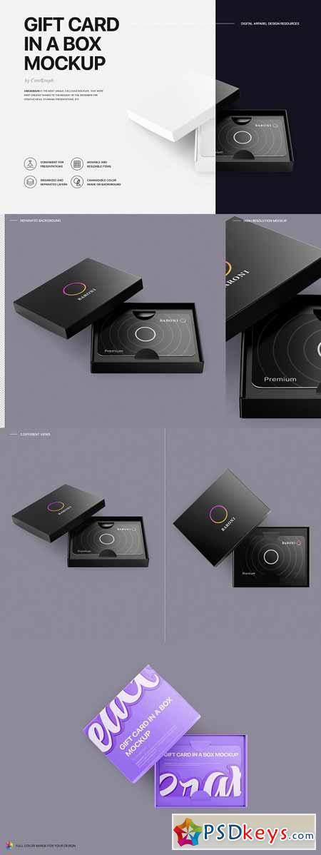Gift Card in a Box Mockup 3279084