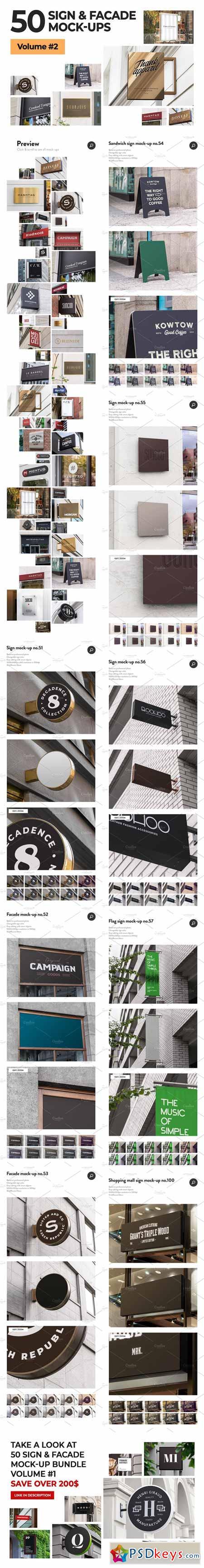 50 sign facade logo mockup bundle 2 3270315