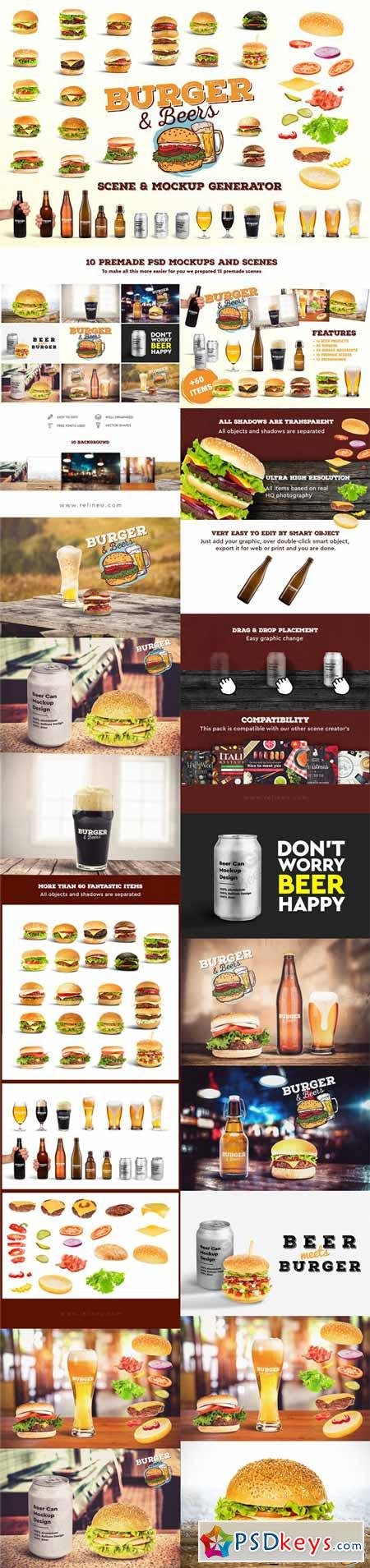 Burger&Beer Mock-up Scene Creator 3231078